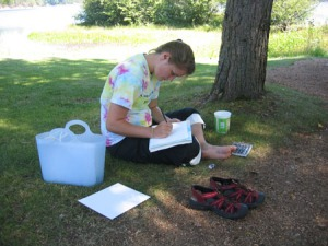 Jaclyn draws on the Lowenstine Estate lawn (Photo by Nancy Schwartz)