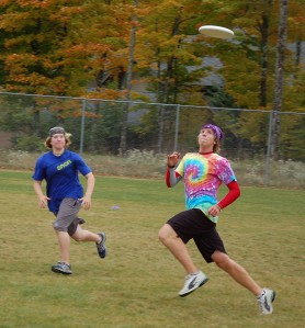Gretchen and Jake, Tournament MVP, keep their eyes on the frisbee.