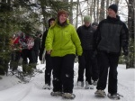 Field Instructors Eve and Pete lead the class as they head out on snowshoes