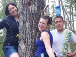 Sandra, Leah, and Jared on the scavenger hunt during Spring Fest