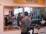 McKim and Deaken exercising in the Lowenwood Recreation Center after school.