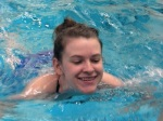 Leah O. swims a lap for her swim test.