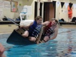 Now it's Jarrett and Juliet's turn to submerge their canoe.