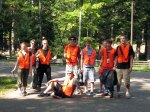 The group of students assigned to help clean up the trash on Black Oak Lake Road pose for a group picture.