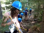 Students working on the trail.