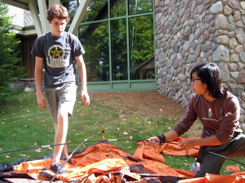 Colin and Maia set up their tent