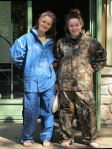 Kelsie and Rachel show off their rain gear.