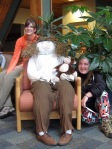 Jessie and Olivia pose with their creation of Jane Goodall