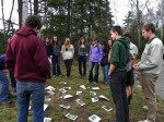 The class strategizes before playing tree id twister.