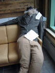 John Muir (by Aaron and Ana) takes a nap in the Gathering Space.