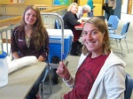 Kelsie and Graduate Fellow Julia Dodd wait to give blood
