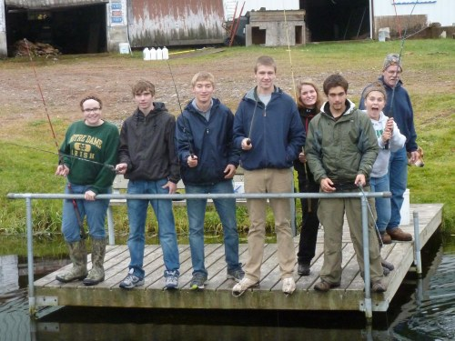 Before leaving the hatchery students fish for trout.
