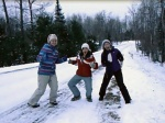Gwen, Katie, and Kate think snow is a cool thing in nature