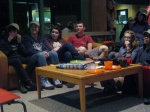 Students enjoy hot cocoa and other treats during the video premiere