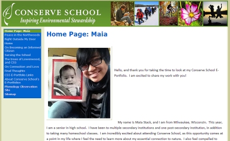 The home page of Maia Stack's E-Portfolio, for which she was awarded 1st Place and a $750 college scholarship.