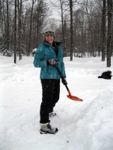 Emma A. poses with her shovel.