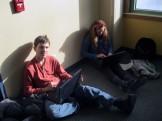 Matt and Ella researching composting