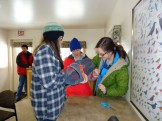 Amelia, Liana, and Erin Z. constructing a trap