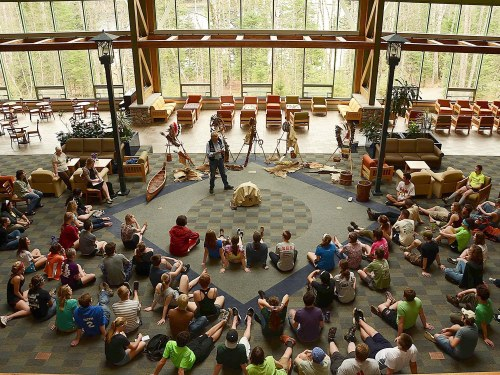 An elder from a local Native American community visited Conserve School in 2012 to share with students how his people traditionally lived in harmony with the Northwoods' seasons.