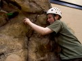 On the Conserve School climbing wall