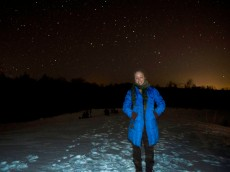 Starry night sledding hill