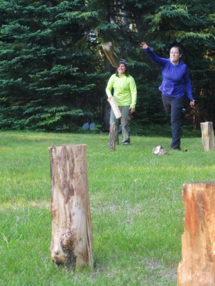 Grad Fellows play a bit of Campsite Kubb.