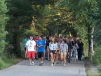 Walking across campus