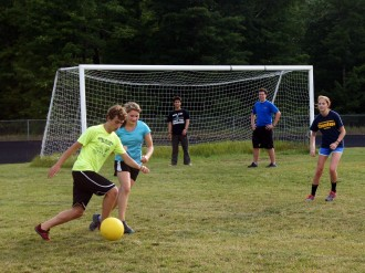 Charlie and Sara go head to head in a co-ed soccer scrimmage.