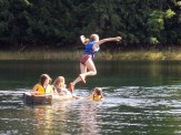 Maddie leaps into the water