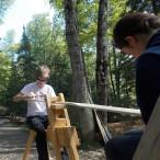 Rick and Hannah carve paddles