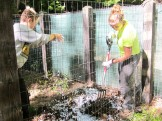 Olivia and Analeise turning composting