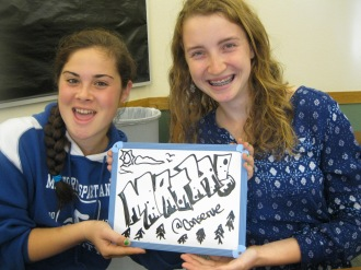 "Hanna and Maddy with a bit of a ""mathtapiece"" before class starts."