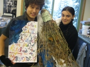 Conner and Sophia top off their representation of John Muir with an exquisite painting that depicts one of his quotes.