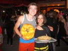 Logan and Sarah won homemade pumpkin pies for best jack-o-lantern