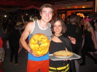 Logan and Sarah won homemade pumpkin pies for best jack-o-lantern