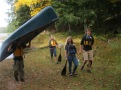 Charlie, Becky, Jessica and Cody use teamwork to carry everything in one portage.