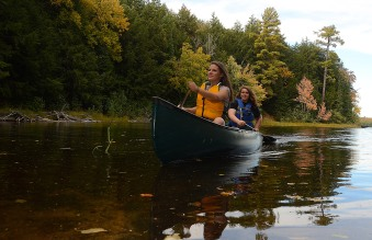 Ruby and Maya enjoying the fall colors from the water.
