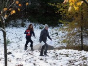 Allie and Nick explore the tamaracks in Ecology