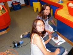 Tierney and Shelie painting at the Children's Museum