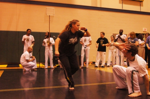 "Sarah and Grad Fellow Nick ""Bem-te-vi"" play a game of Capoeira in the roda."