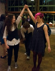 Kaya and Analiese on the contra dance floor