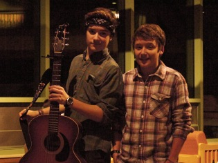Henry and Liam backstage at the open mic