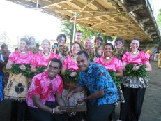 A photo provided by Grad Fellow Zoe (far right, second row) from her time in Fiji.