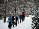The class marches out to the trail