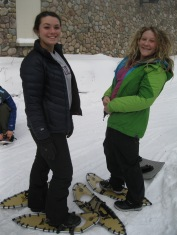 Allie and Mary getting ready for the snowshoe hike.
