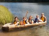 Wooden canoe in history class
