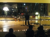 Sharing a poem during open mic night