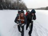 Pulling across Little Donahue Lake