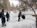 Deep snow and downed trees make for challenging travel