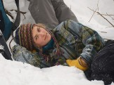 Antonia relaxing in the snow